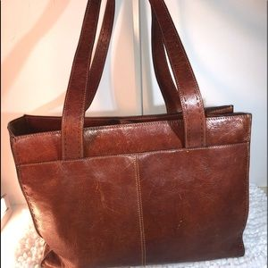 Fossil ~ Genuine Dark Tan Leather XL Tote Handbag